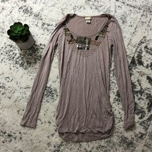 Daytrip Jersey Taupe Beaded Top Sz M